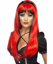 Long Black And Red  Halloween Wig Bewitching Witches Wigs Fancy Dress Accessory