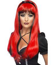 Largo Negro y Rojo Halloween Peluca EMBRUJADORA BRUJAS Accesorio de disfraz