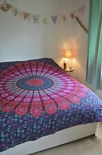 Indian Cotton Tapestry Pink & Purple wall Hanging Decor Mandala Twin Bedspread