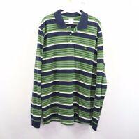 Brooks Brothers Mens XL Slim Fit Long Sleeve Striped Golf Polo Shirt Green Blue