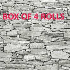 Grey Natural Stone Brick Wall Wallpaper 3d Effect Realistic Debona 1283 Faux