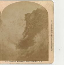 Vintage NH Stereo View Old Man Of The Mountain Enthroned Among The Clouds #714