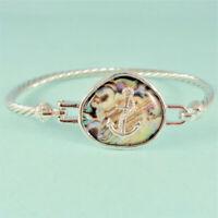 Abalone Nautical Anchor Designer Inspired Silver Bangle Bracelet Hook Open USA