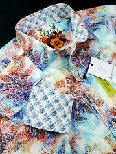Robert Graham Vibrant Colorful Floral Paisley Abstract Print Sports Shirt Medium