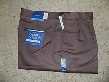 38 X 36 CROFT & BARROW PLEATED FRONT PREMIUM NO IRON KHAKIS- BROWN- NWT