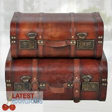 Set of 2 Wooden Storage Trunk Chest Box Decor Brown