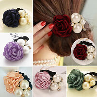 Women……Rose Flower Pearl Ponytail Holder Hair-Band Hair Accessories Rope Elastic