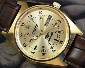 UNUSED CITIZEN AUTOMATIC DAY DATE CAL.8200 MEN'S JAPAN OLD VINTAGE WATCH 13215