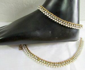 PAIR OF NEW PEARL GOLDEN STUNNING PAYAL ANKLET KUNDAN INDIAN BOLLYWOOD ANKLE M-3