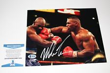 MIKE TYSON SIGNED 8X10 PHOTO BECKETT AUTHENTICATED COA BAS VS EVANDER HOLYFIELD