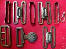 Lot of Original WW2 British Army RAF 1937 Brass Webbing Belt Buckles Fittings.