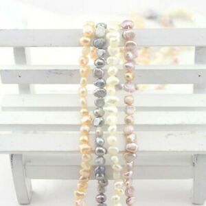 """Small 4-5mm Natural White Pink Gray Freshwater BAROQUE Pearl Loose DIY Beads 15"""""""