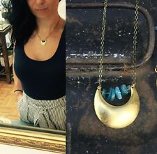 Anthropologie Blue Kyanite Beads Brass Crescent Moon Arc Chain Pendant Necklace