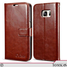Tomkas - PU Leather Case for Samsung Galaxy S7 - Brown with Card Slot