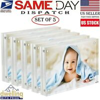 5 x Acrylic Photo Frame Magnetic Photo Holder Clear Picture Frame Standable 4x6""