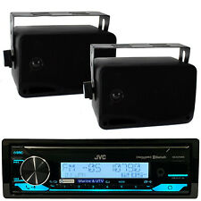 JVC KDX37MBS Marine Car USB AUX Input Radio Receiver & 200W Box Marine Speakers