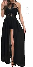 Sexy Black Maxi Dress Shorts Attached See Through Embroidered Halterneck Top