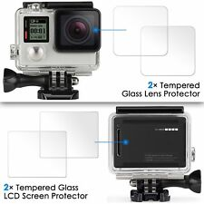 2X GoPro Hero 4 Black/Silver Screen Protector Tempered Glass Film Screen & Lens