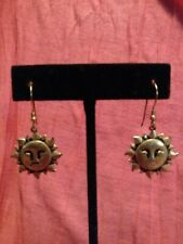 Dangle Drop Earrings Jewelry Statement Fashion Small Gold Tone Sun Flame Face