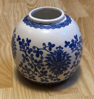 "Oriental Porcelain Vase Chinese Blue & White Flower Pattern 5"" Tall-5"" wide"