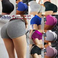 Women Shorts Running Yoga Gym Pants Sports Workout Beach High Waist Short US