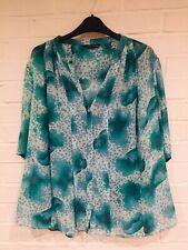 TRINNY & SUSANNAH 100% Soft Silk Turquoise Top Shirt 20 EU46