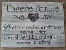 """A4 Schild Holzschild """"Unsere Familie"""" - handgemacht - Tapete Holzoptik grau"""