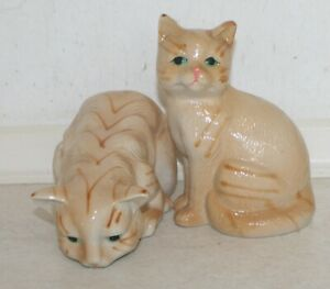 Two Beautiful Porcelain Ginger Cats. Sitting One Ht: 16cm, Other L: 19 cm.