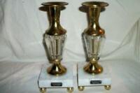 ITALIAN FLORENTINE MARBLE BRASS GLASS CANDLE HOLDERS ELEGANT VINTAGE MID CENTURY