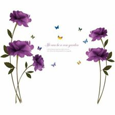 Wall Mural Room Purple Roses Butterflies Decal Home Decors Removable Stickers