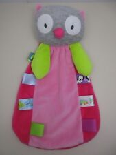 TAGGIES GRAY OWL PINK SECURITY BLANKET LOVEY GIRL TAGS SOFT PLUSH