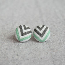 Black White and Mint Chevron Fabric Button Earrings