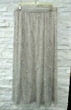 NEW Soft Surroundings Beige Jersey Sequins Beads Boho Gypsy Layer Maxi Skirt L