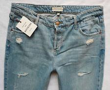 River Island Ladies Jeans Size 10 S slim boyfit crop knee rip ripped light 30/26