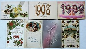 # T2817    NEW YEARS    POSTCARD LOT,   7  DIF. CARDS