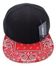 DECKY Black Snapback Cap Hat Red Paisley Bandana Flat Bill Visor Caps Hats NWT