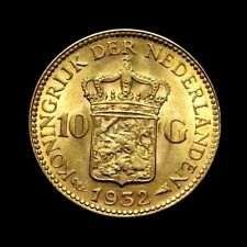1932 Netherlands, Wilhelmina I,10 Gulden Gold