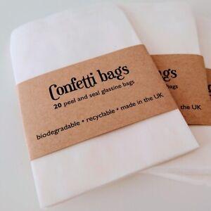 20 Peel & Seal CONFETTI FAVOUR BAGS Glassine Paper Transparent Biodegradable
