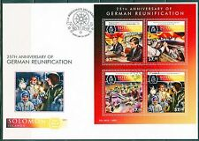 SOLOMON ISLANDS 2015 25th ANNIVERSARY RE-UNIFICATION OF GERMANY SHEET FDC
