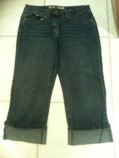 Ladies Sz 12 Cropped  Denim Jeans Turn Up Cuff Pedal Pusher Pants