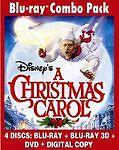 Disneys A Christmas Carol Blu Ray, DVD, 3D Blu-ray 4-disc combo pack
