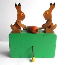 "1950s USSR Russian Soviet Wooden Mechanical Toy BARREL ORGAN ""HARES SAW CARROT"""