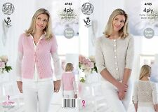 KINGCOLE 4785 Ladies 4ply KNITTING PATTERN 28-46IN -not the finished garments