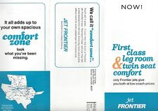 Frontier Airlines 1972 twin seat comfort zone seating info leaflet