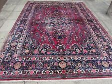 Shabby Chic Worn Vintage Hand Made Traditional Red Wool Large Carpet 337x256cm