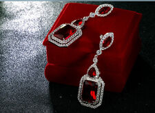 18k White Gold GF Long Earrings made w Swarovski Garnet Red Stone Gorgeous Jewel