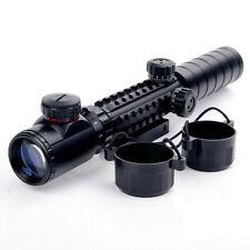 Thr-rail Illuminated 3-9X32EG Green/Red Optics Rifle Scope Sight 20mm rail Mount