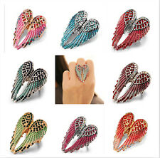 Angel wing stretch ring women biker bling jewelry gift silver red crystal