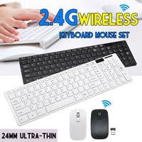 2.4GHz Wireless Tastatur Maus Set für PC kabellos Ultra Dünn USB Schwarz /