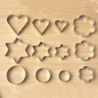 12Pcs Stainless Steel Biscuit Heart Star Cookie Cutter Pastry Baking Mold Mould